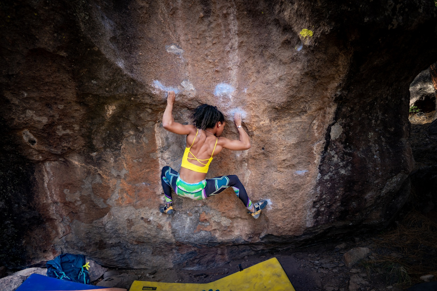 In bouldering — the variation of climbing Dubyk prefers —  a climber does not have any support from ropes or harnesses.