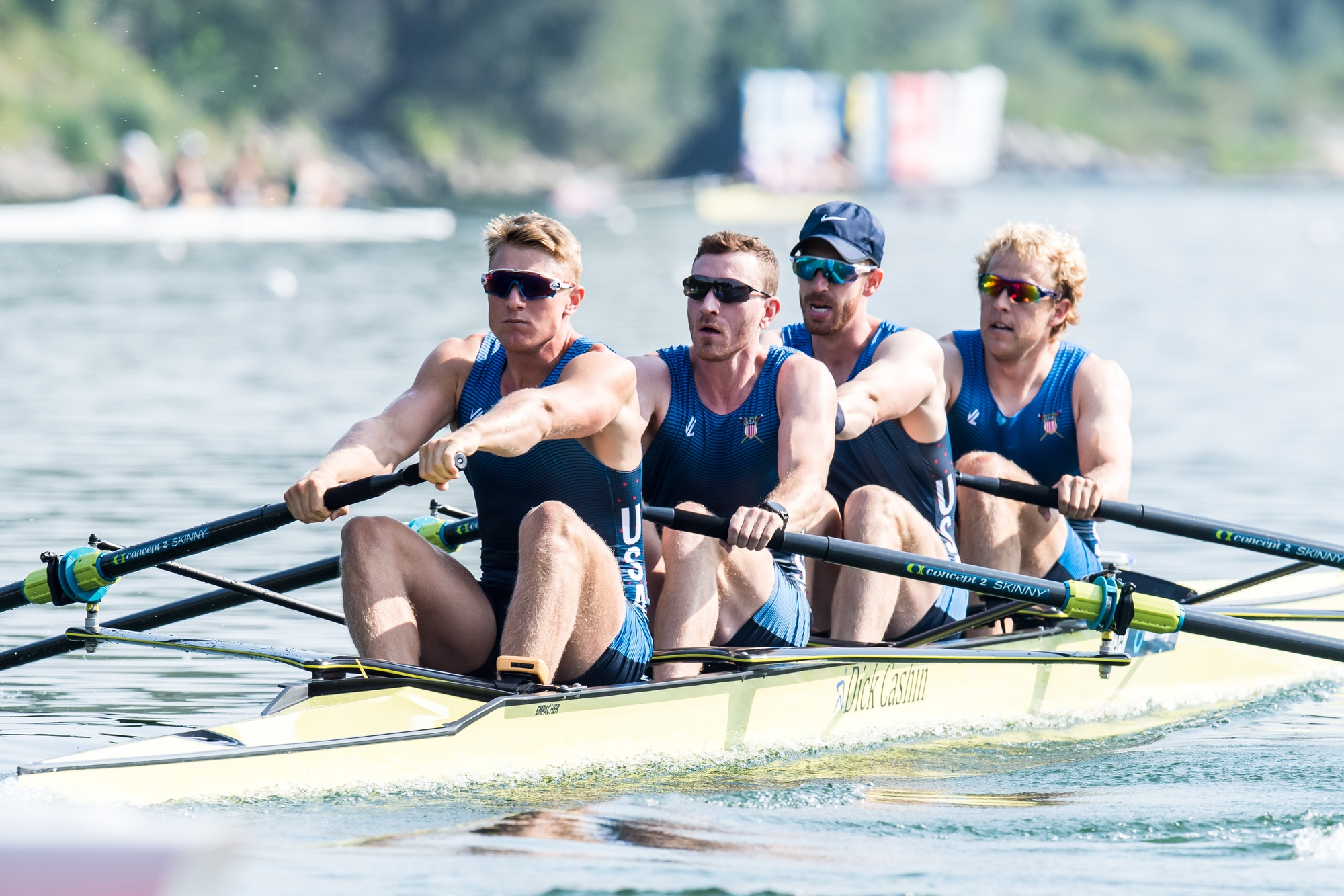 Clark Dean, pictured in the foreground, helped power these four Americans to a top-eight finish at the 2019 World Championships. The Harvard rower had hoped to earn a chance to replicate this international success at the 2020 Olympics, but the COVID-19 pandemic has put his training schedule in an uncertain place.