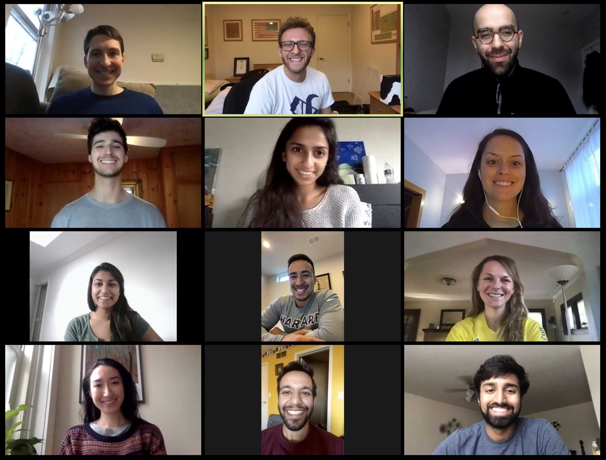 The leadership of the HMS COVID-19 Student Response Team — Michael Kochis, Derek Soled, Parsa Erfani, Benjamin Levy, Kruti Vora, Grace Baldwin, Shivangi Goel, David Velasquez, Kirstin Woody Scott, Danika Barry, Nishant Uppal, and Nicholos Joseph — meet on Zoom.