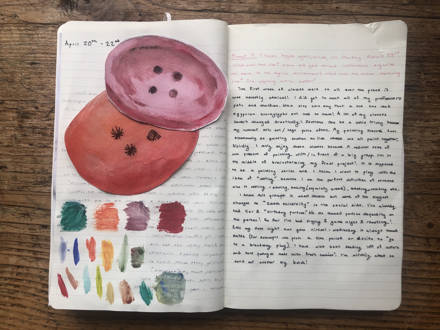 Francesca M. Hess '20 fills her journal with paintings, Polaroids, and other knickknacks, including the invitation to commencement that arrived in the mail the same day she arrived back home.