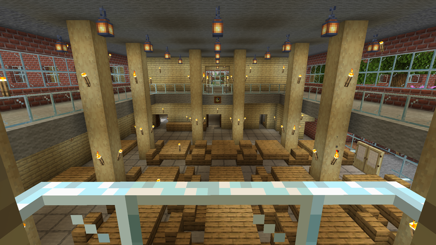 Pfoho's iconic, two-level dining hall has a slightly different feel in Minecraft.