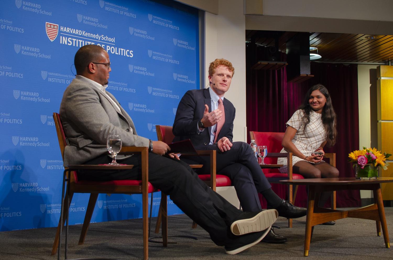 United States Representative Joseph P. Kennedy III (D-Mass.) visited the Harvard Institute of Politics in October 2019 to discuss his U.S. Senate campaign.