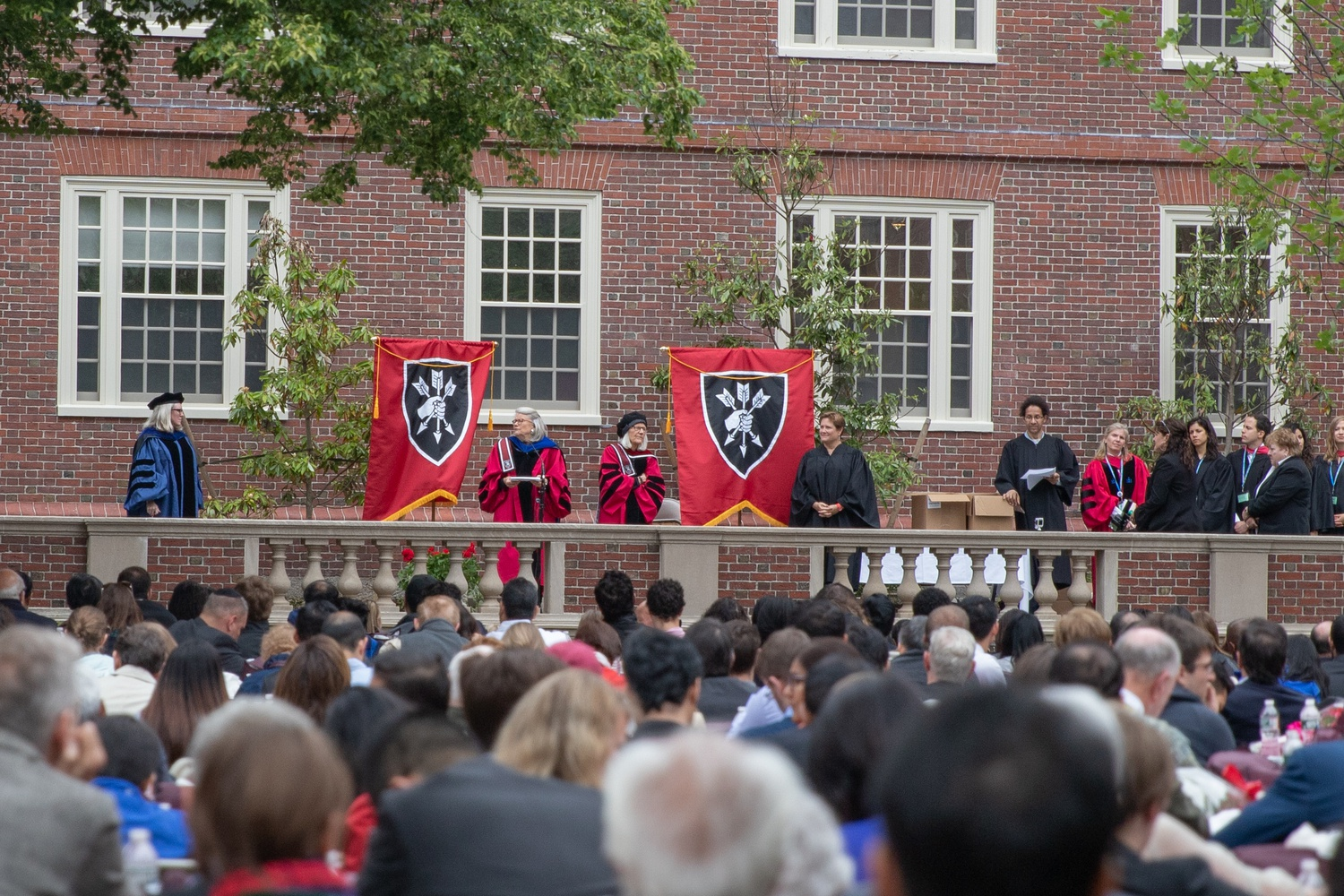 Lowell's commencement ceremony in 2019. Traditionally on Commencement Day, seniors attend Morning Exercises in Tercentenary Theater, followed by House-specific ceremonies to confer diplomas.