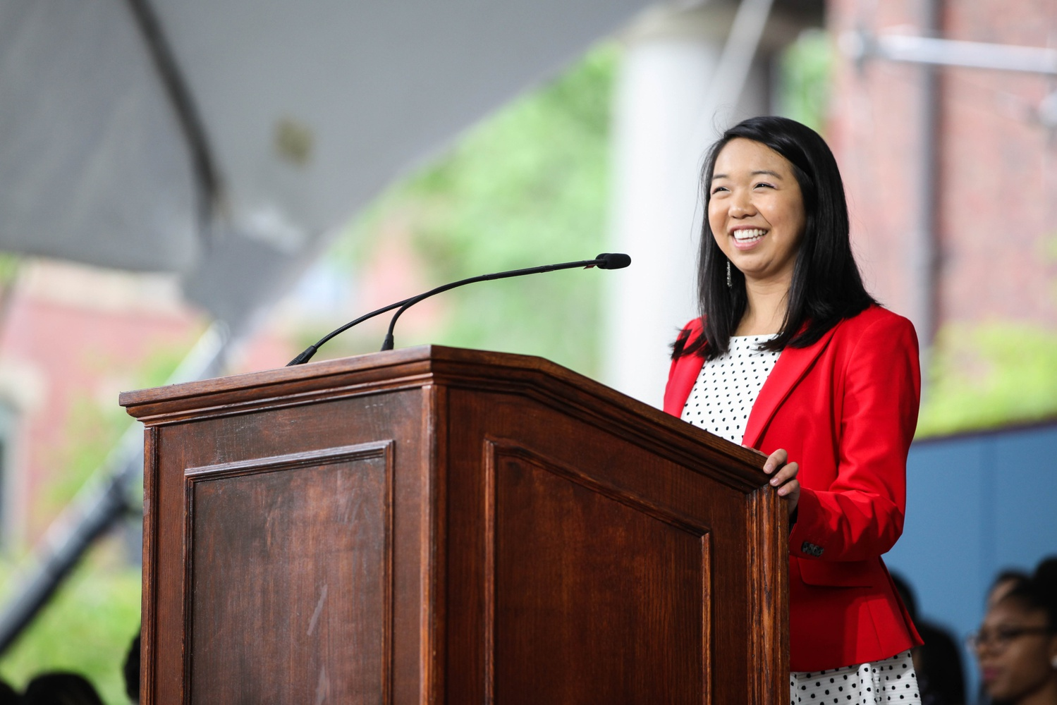 Catherine L. Zhang '19, the First Senior Class Marshal for the Class of 2019, spoke at Class Day to her entire undergraduate cohort.