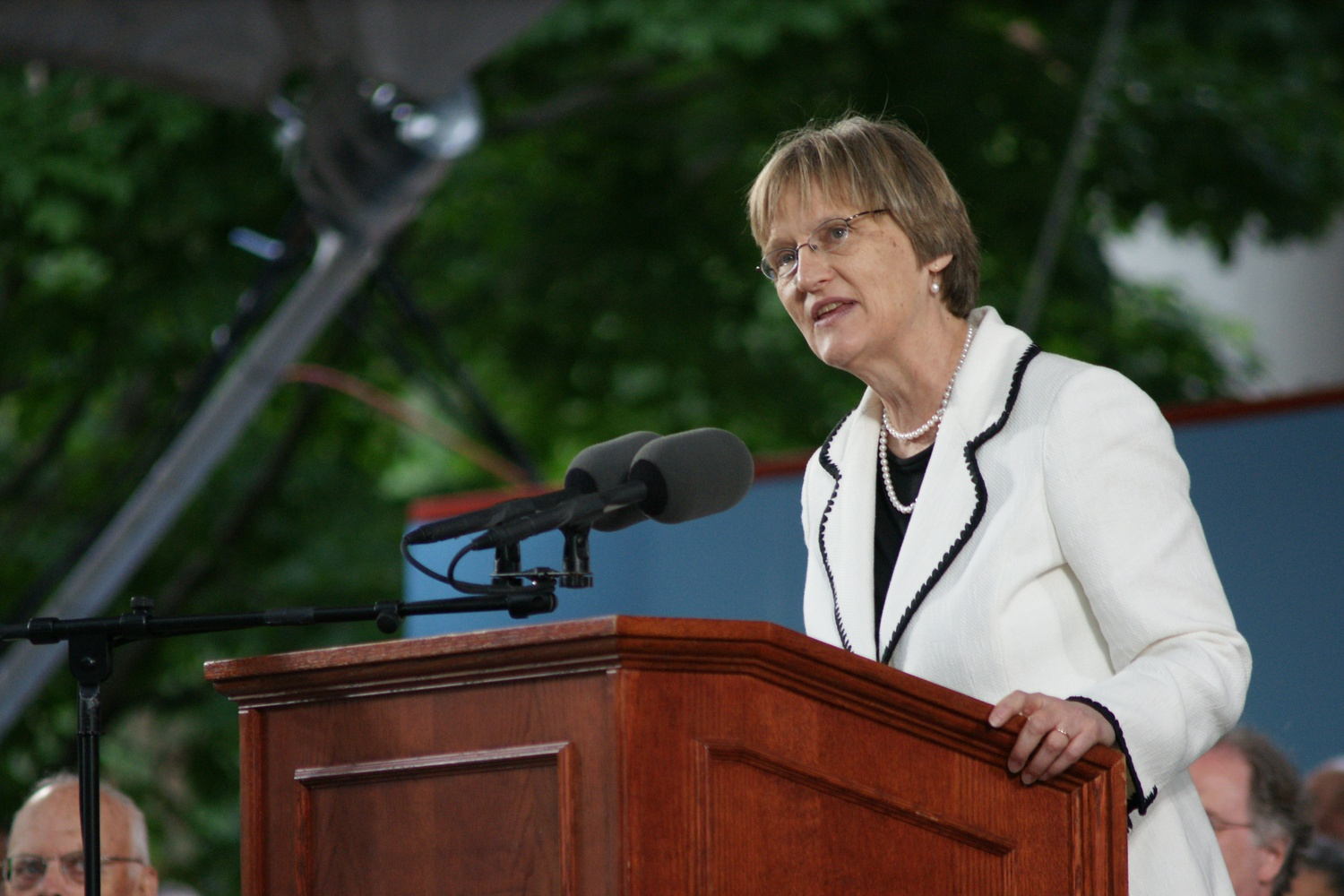 At the annual meeting of the Harvard Alumni Association at Harvard University's 2008 Commencement ceremonies, former University President Drew G. Faust spoke about the value of college endowments.