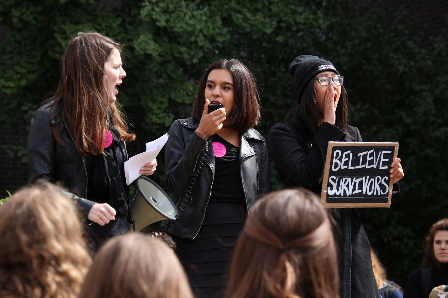 Harvard Law School students and members of the anti-harassment student advocacy group The People's Parity Project organized a walkout protesting the nomination of Brett M. Kavanaugh to the Supreme Court as he faced allegations of sexual assault.