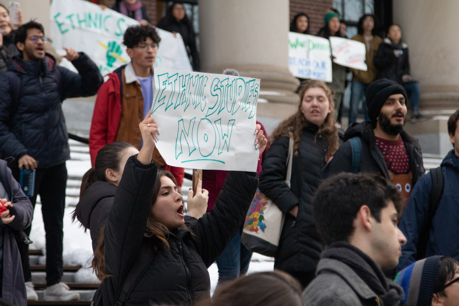 Advocates for a formalized Ethnic Studies program at Harvard rallied in front of Widener Library in early December after the University's decision to deny tenure to Romance Languages and Literatures associate professor Lorgia García Peña.