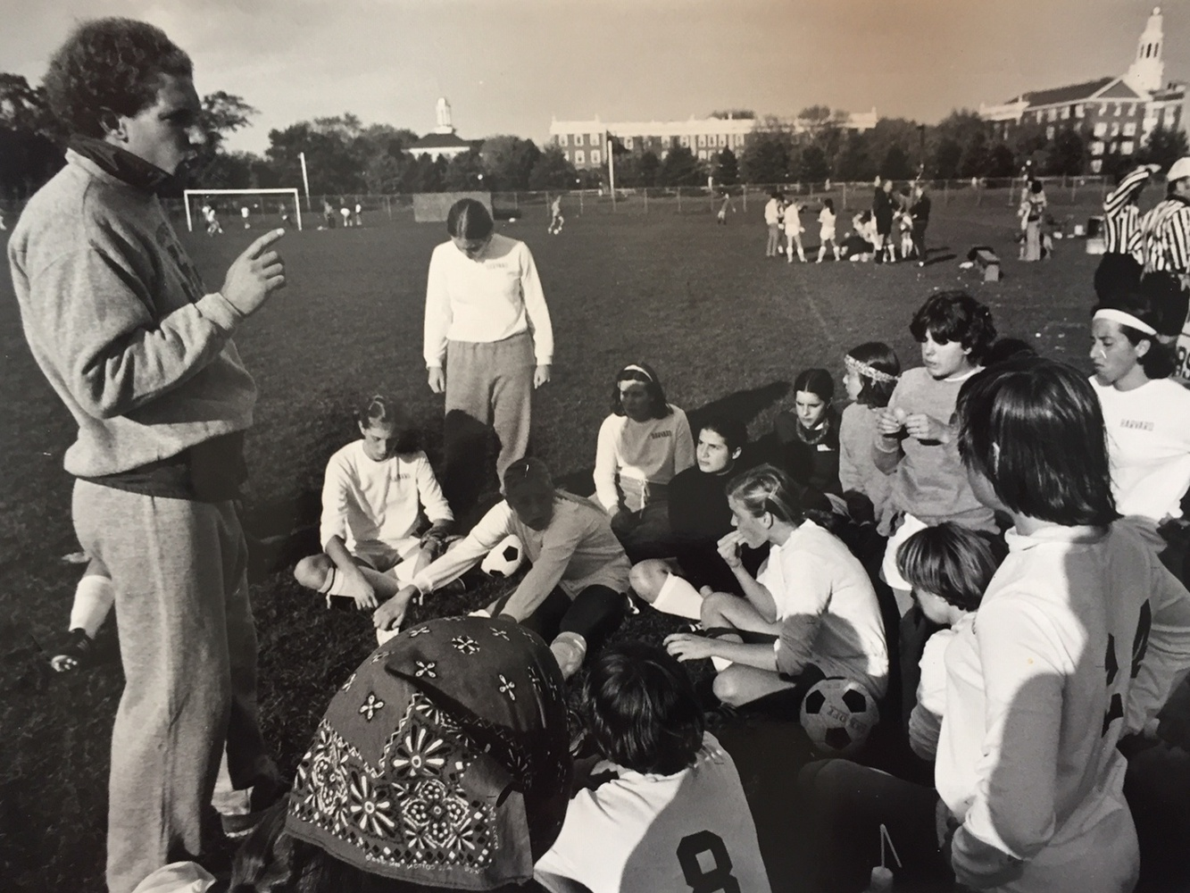In 1977, Robert L. Scalise was the first coach of the women's varsity soccer program at Harvard , staying with the team until 1987.