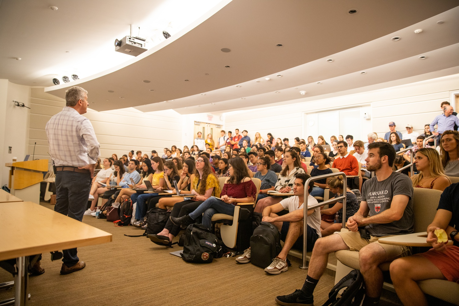 During shopping week, students are free to attend any lecture that piques their interest, often leading to overcrowding.  After the novel coronavirus outbreak, exceeding occupancies of lecture halls may be a potential concern.