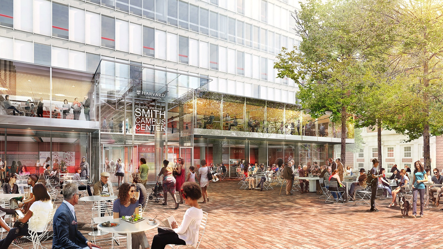 In a rendering of the expected external appearance of the renovated Smith Campus Center, people can be seen playing chess, enjoying the outdoor pavilion, and purchasing food from the variety of eateries.