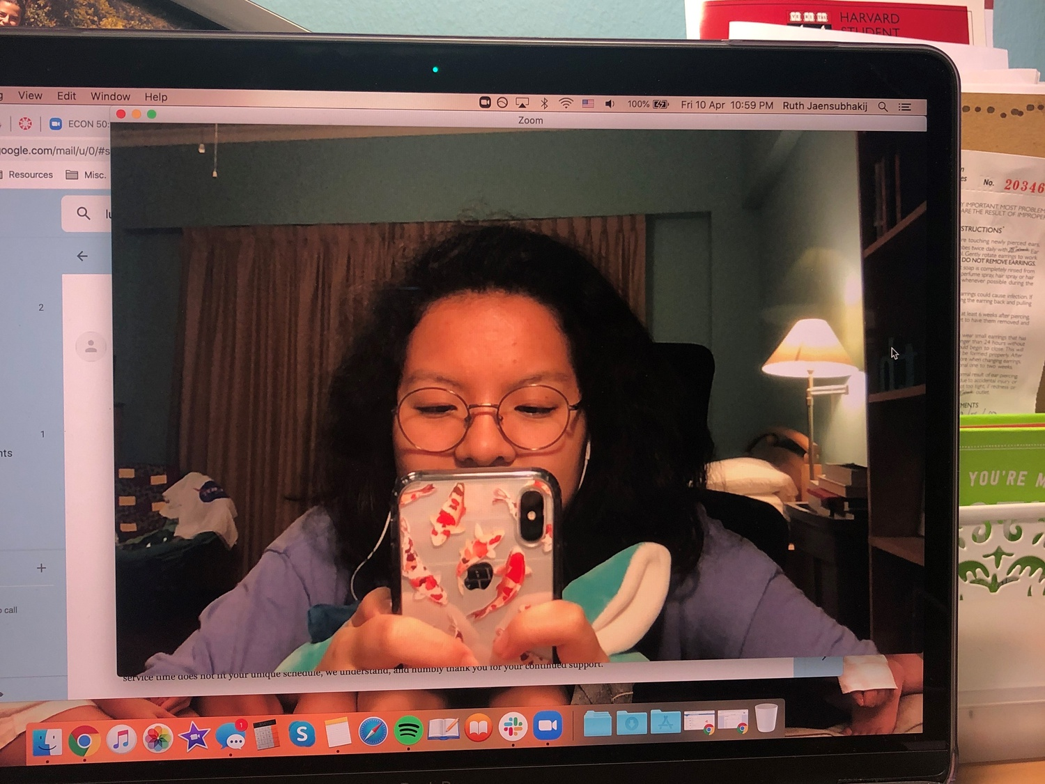Ruth H. Jaensubhakij '22, whose sleep schedule has taken an erratic turn, attempts to connect to a Zoom class in Cambridge, Mass. from her home in Singapore.
