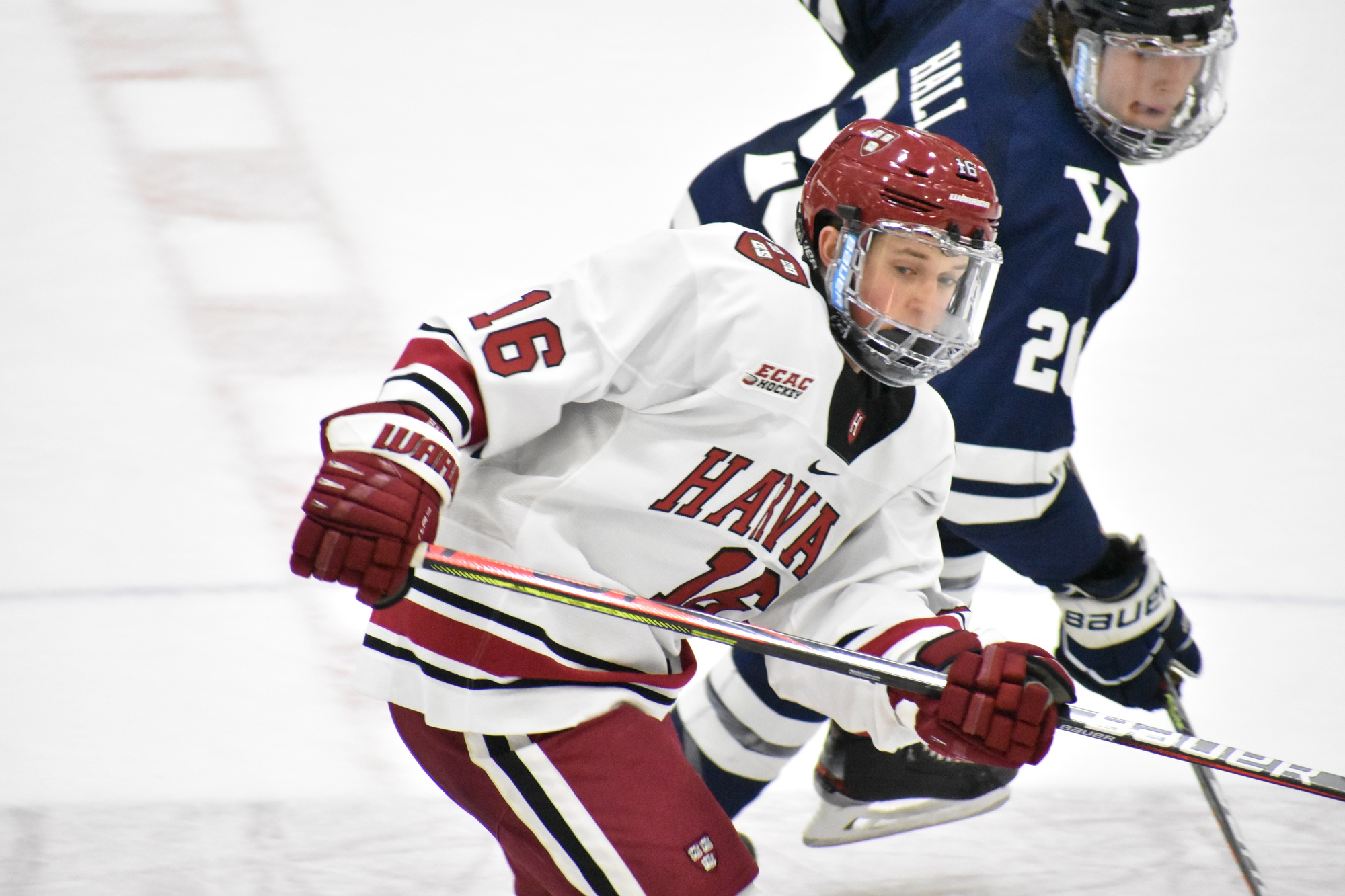 First-year forward Nick Abruzzese contributed two goals on three occasions in his rookie campaign, including in a rivalry game against Yale on home ice.