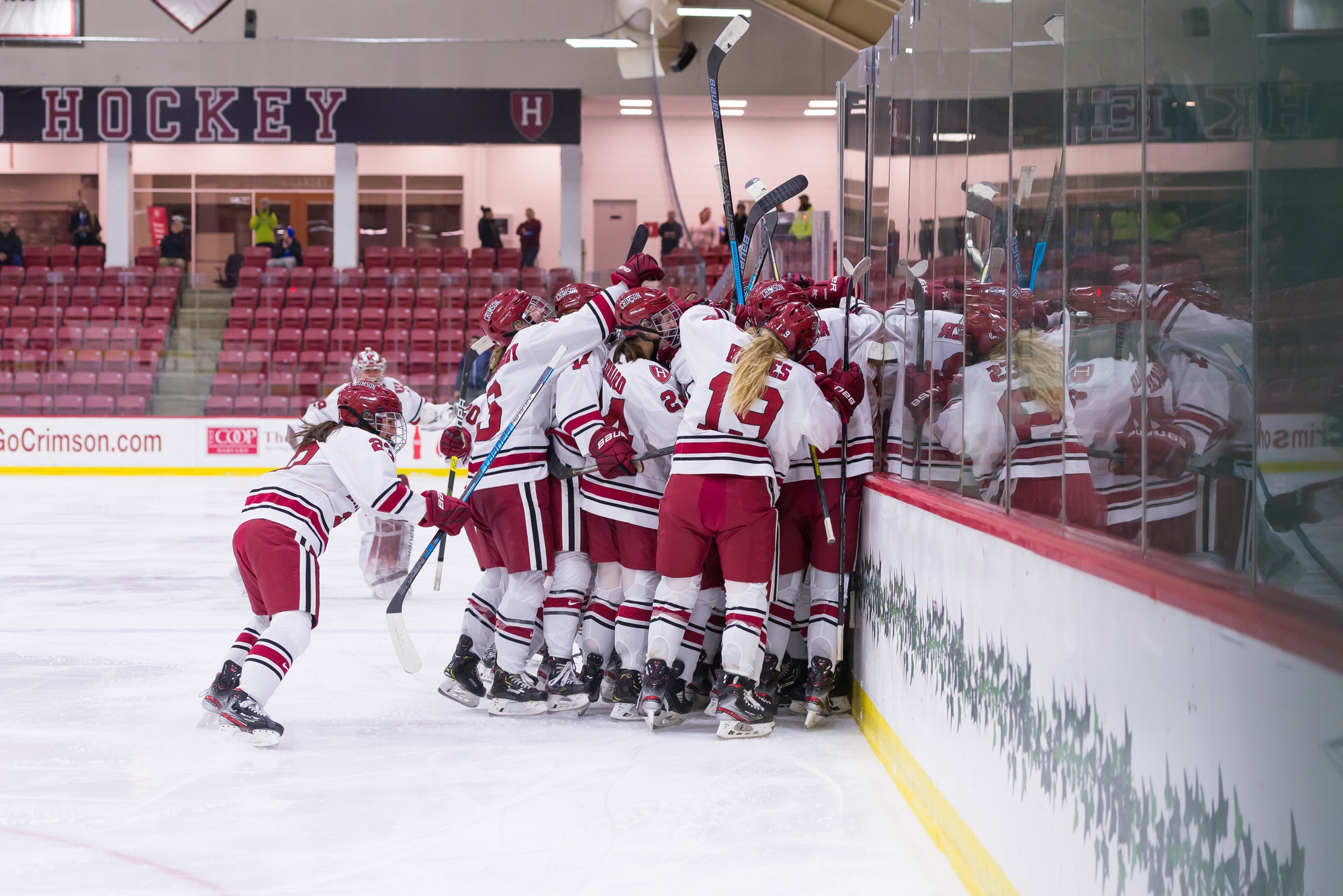 Harvard players sprint from the bench and all parts of the ice to congregate and celebrate Gilmore's OT game-winner, plus an ECAC semifinals berth.