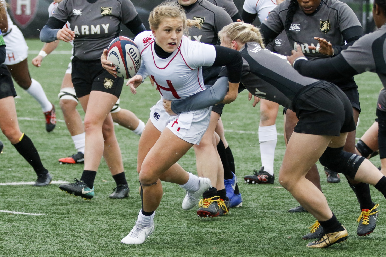 Sophomore Cassidy Bargell looks to elude the Black Knights' defender. In the game, while Army attempted to wrap up the Crimson, Harvard wrapped up the season in victory: with a national championship.