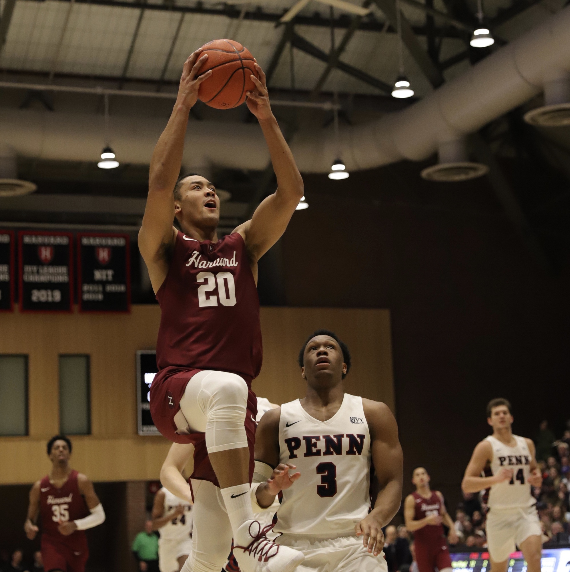 Senior guard Justin Bassey skies to the hoop in a late-February Ivy League tilt. In his senior season, the Denver native started all 29 games, averaging 28.2 minutes per contest, before the season ended with the cancellation of the Ivy League Tournament.