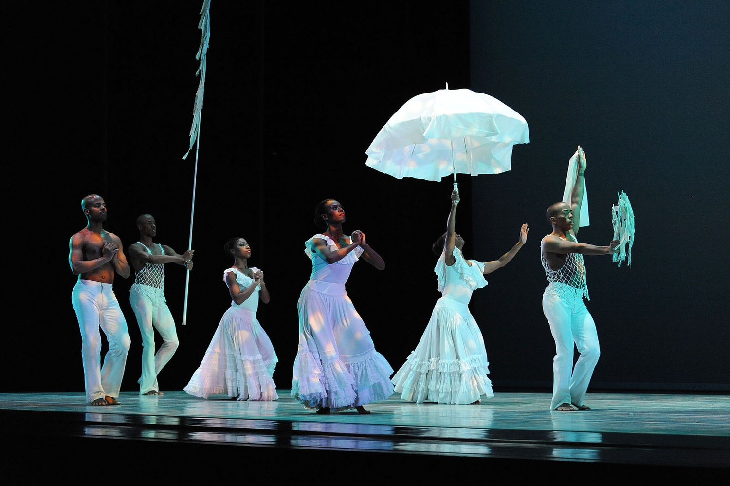 "Alvin Ailey American Dance Theatre performs legendary Alvin Ailey's ""Revelations"" in Miami's Adrienne Arsht Center for the Performing Arts."