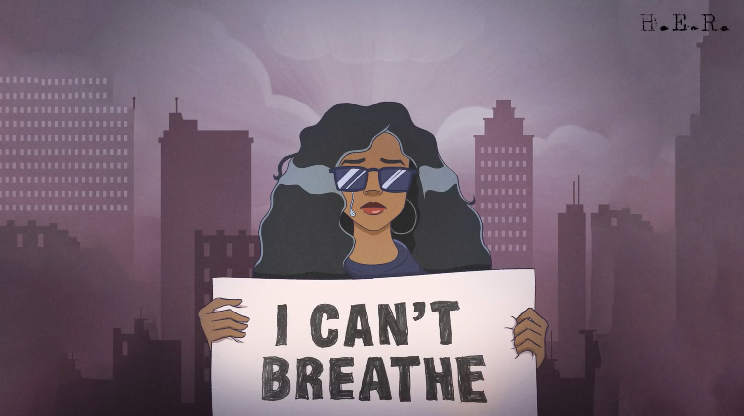"Single art from H.E.R.'s song ""I Can't Breathe"""