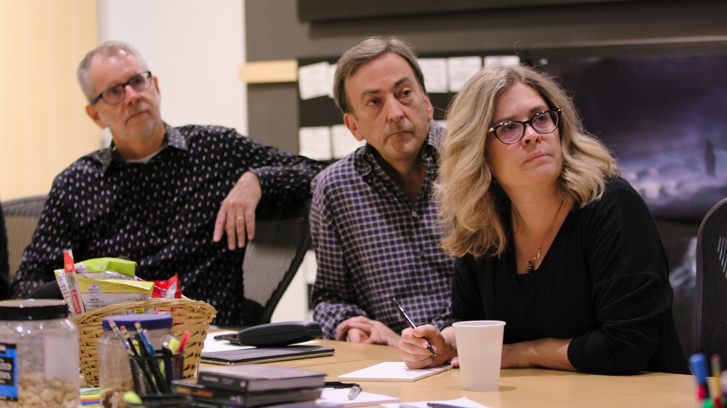 "At the center of the documentary are (from left to right) ""Frozen 2"" co-director Chris Buck, producer Peter Del Vecho, and co-director and writer Jennifer Lee."