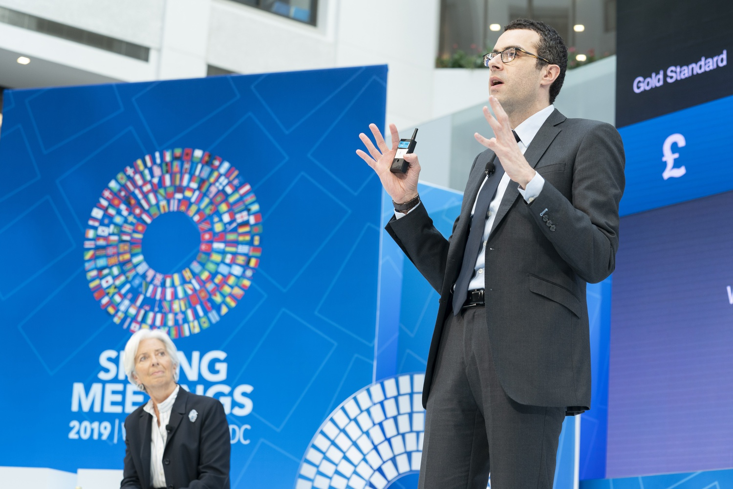 Harvard economics professor Emmanuel Farhi speaks at the 2019 IMF/World Bank Spring Meetings in Washington, D.C.