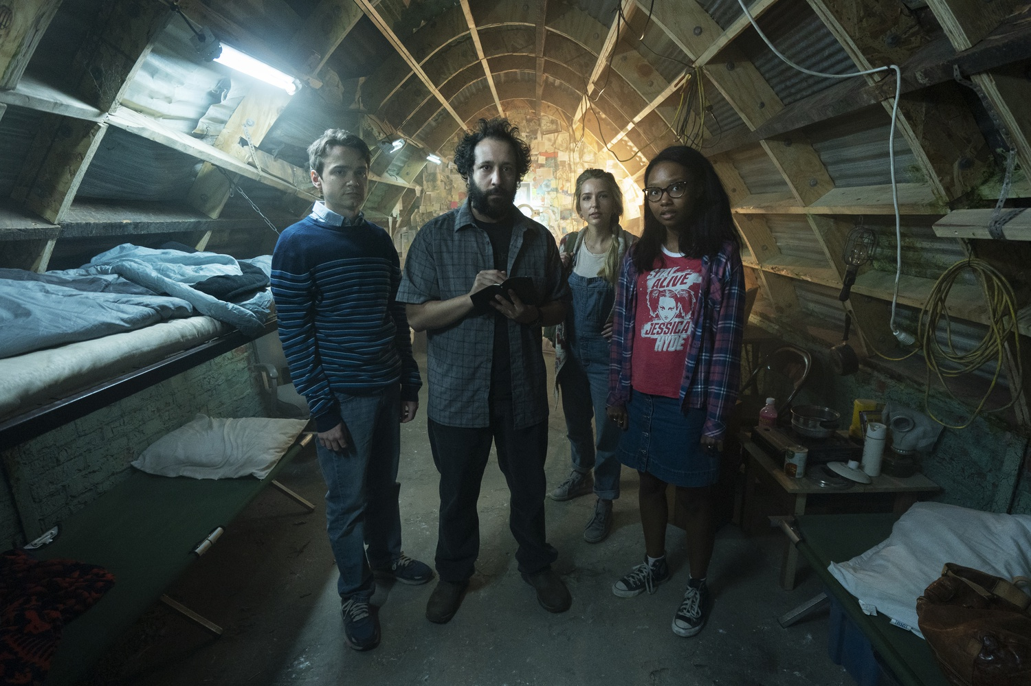 "Dan Byrd as Ian, Desmin Borges as Wilson Wilson, Jessica Rothe as Samantha, and Ashleigh LaThrop as Becky in Season One of ""Utopia."""