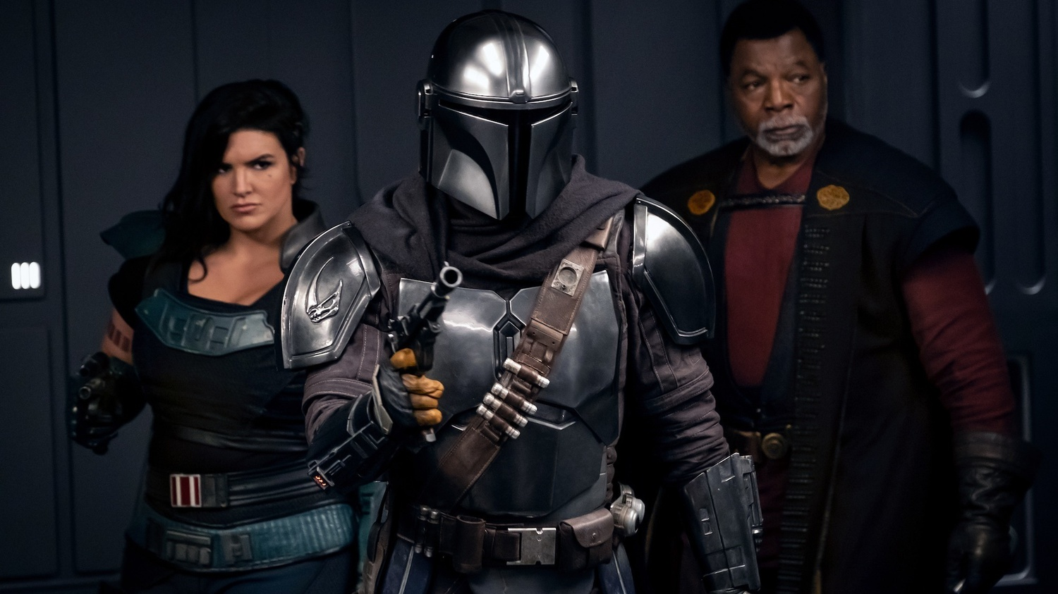 Gina Carano is Cara Dune, Pedro Pascal is the Mandalorian, and Carl Weathers is Greef Karga in Season Two of 'The Mandalorian,' premiering on Oct. 30.
