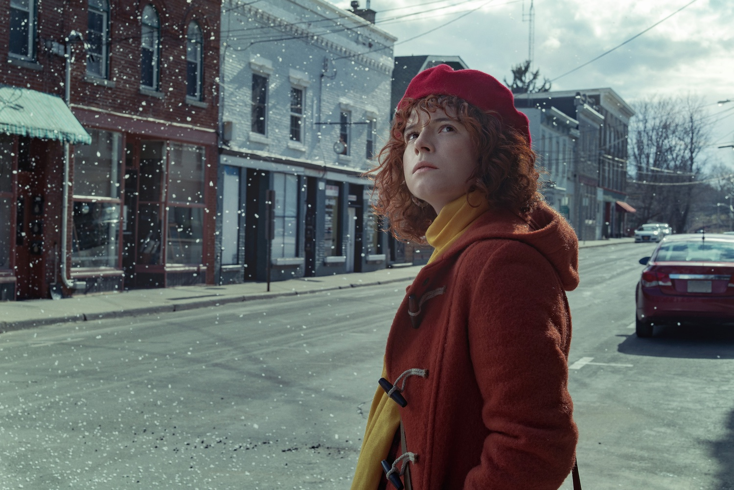 """Jessie Buckley stars in """"I'm Thinking Of Ending Things"""" (2020), directed by Charlie Kaufman."""