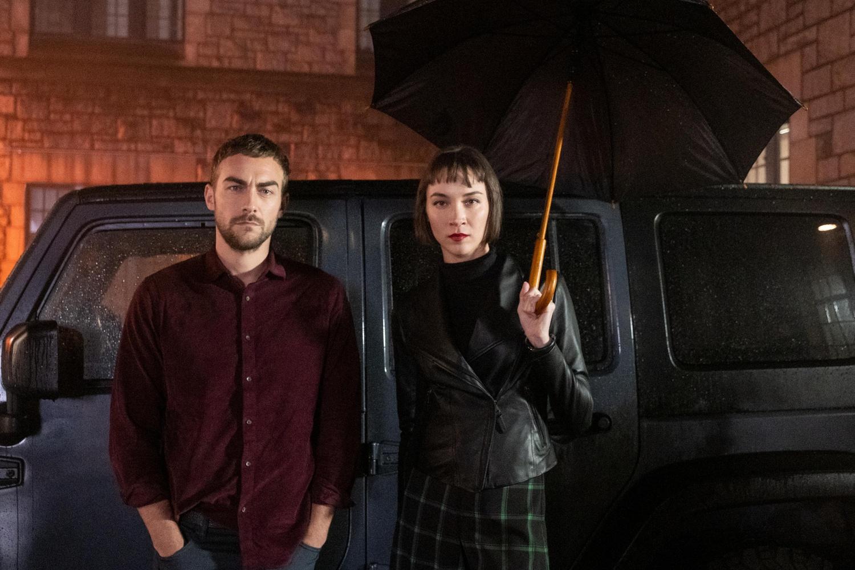Daimon Helstrom (Tom Austen) and Ana Helstrom (Sydney Lemmon) from Marvel and Hulu's 'Helstrom.'