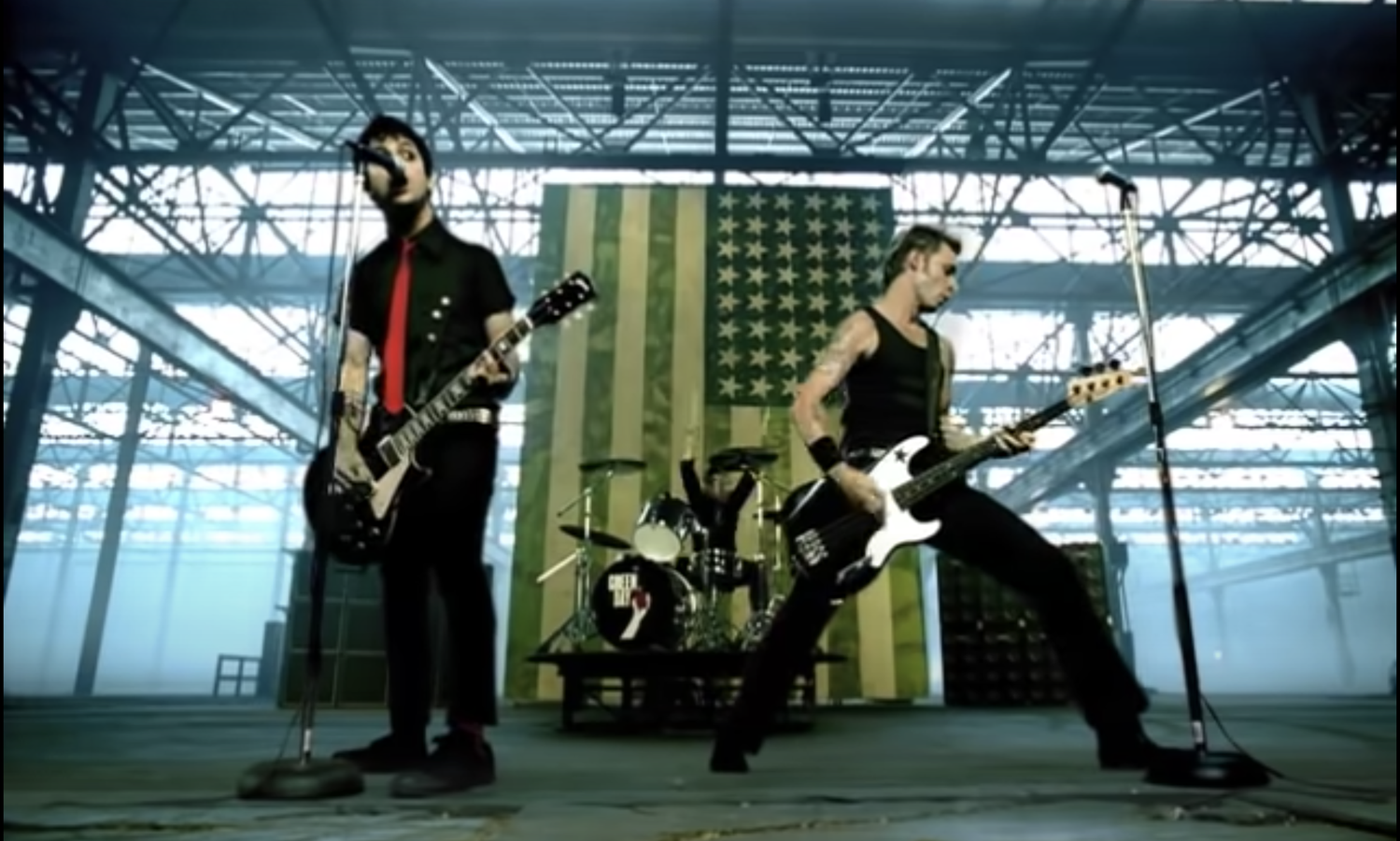 Green Day in the music video for 'American Idiot.'