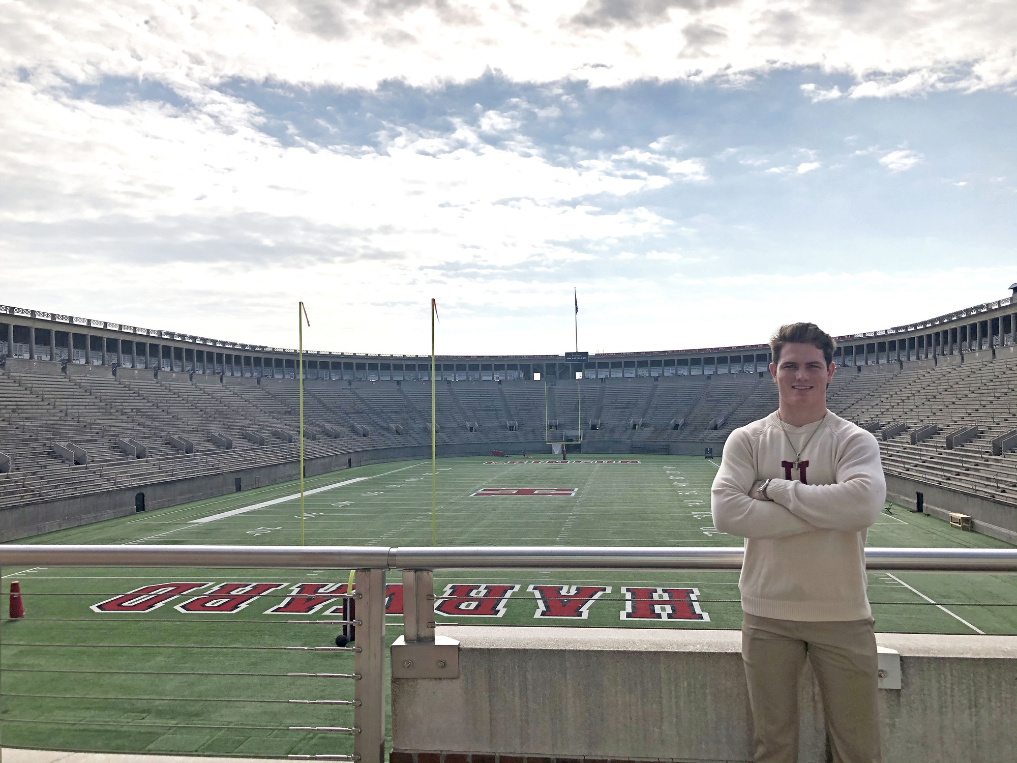First-year Brock Locnikar poses in Harvard Stadium, but he hopes to take the field as a player soon. Until then, he will be taking on a different kind of contact sport: mixed martial arts.