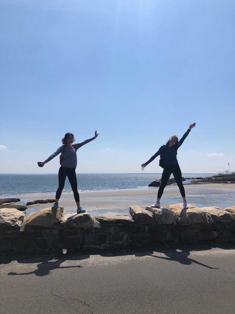 Heidi Jacobsen '24 and Bella Subramaniam at the beach in Greenwich, Conn., as part of their marathon walk to raise money for their local hospital.