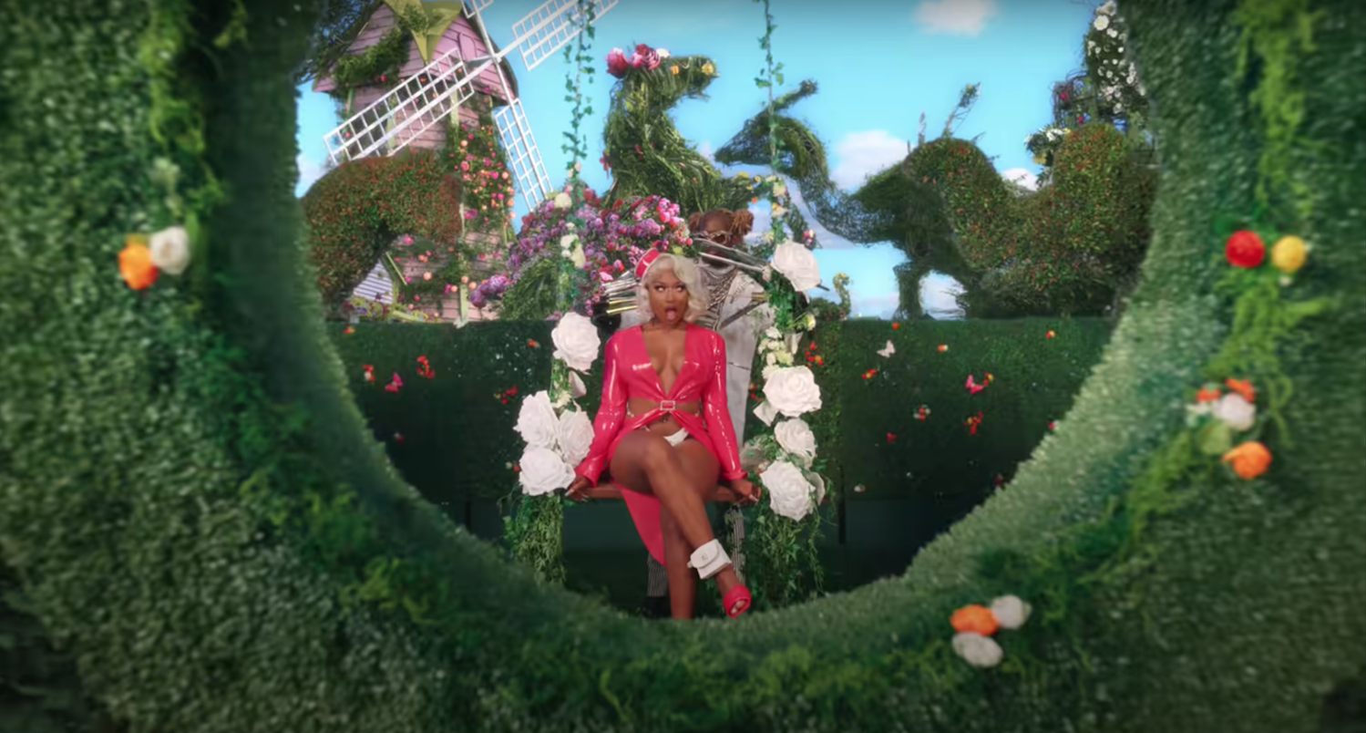 Megan Thee Stallion gets a Scissorhands haircut from Young Thug in their new music video.