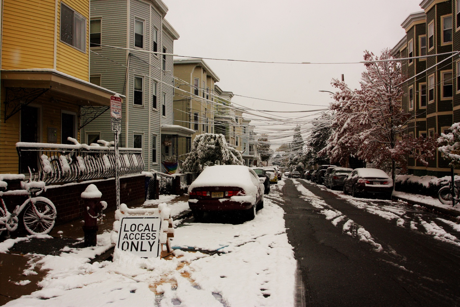 An October snow blankets Somerville, Mass., where many Harvard students have settled for the fall semester.