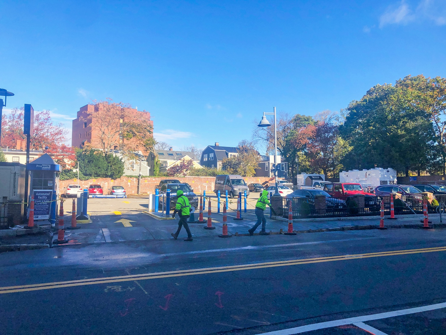 The City of Cambridge installed nine public showers in a Harvard Square parking lot in association with First Church Shelter.