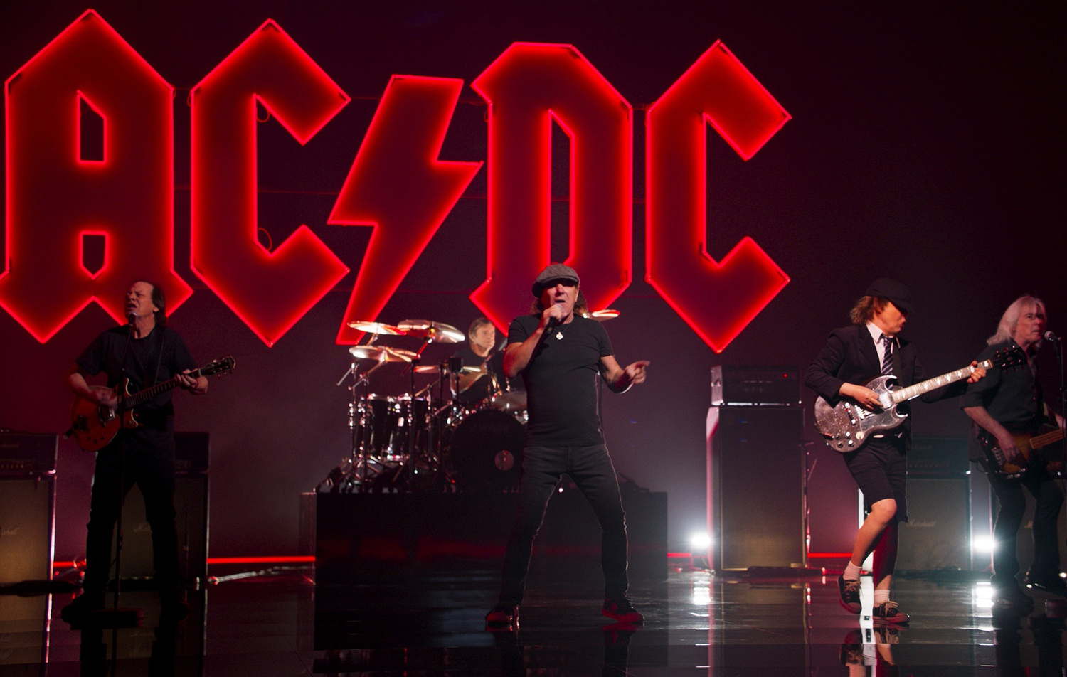 """A still from AC/DC's music video for """"Shot In The Dark."""""""