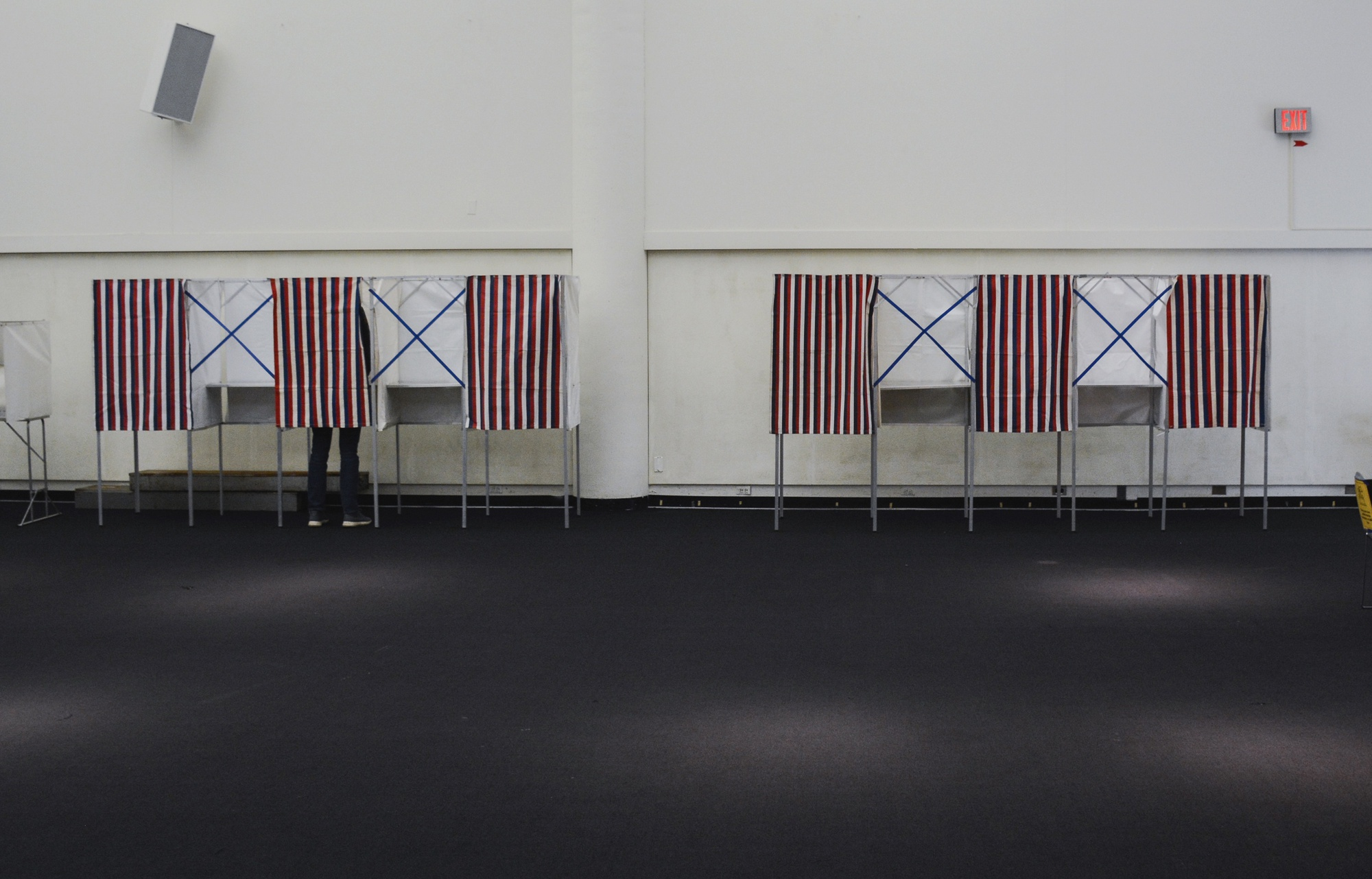 A mostly empty polling place in Cambridge, Mass.
