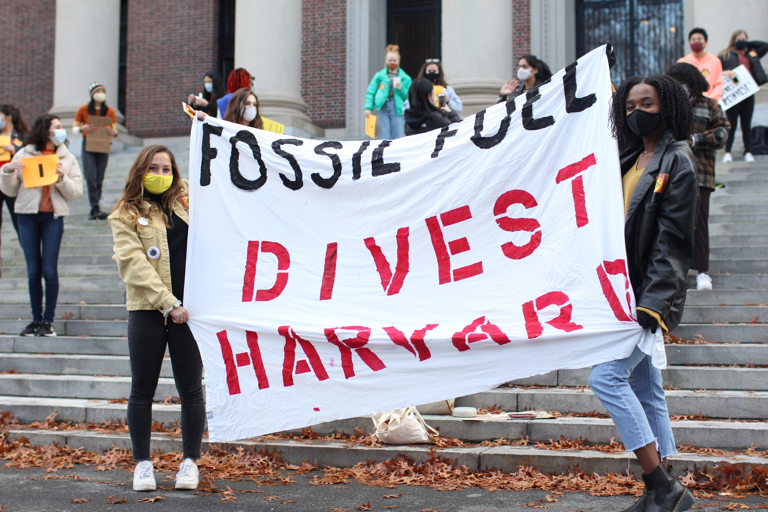 Students on campus held a pro-divestment rally on the steps of Widener Library, one of Divest Harvard's first in-person events this fall.