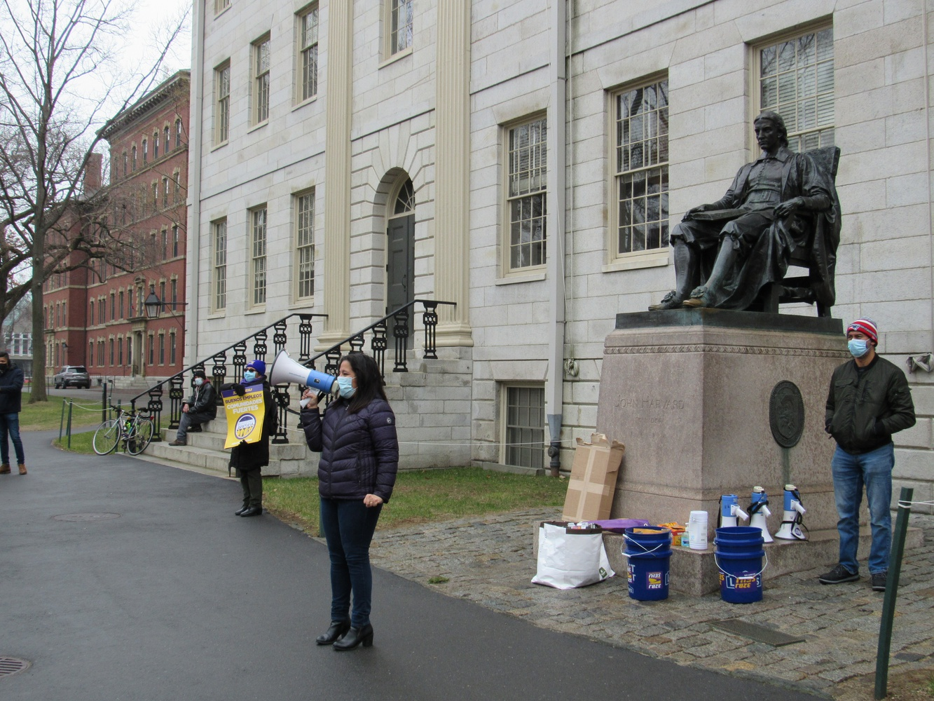 32BJ SEIU Vice President Roxana Rivera addresses Harvard workers, union members, and supporters during a socially-distanced rally calling on the University to pay and guarantee jobs for its contracted staff.