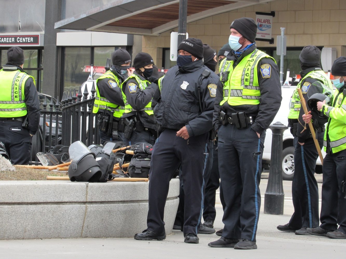 Boston Police prepare for potentially violent demonstrations at the Massachusetts State House on Inauguration Day, Jan. 6, 2021.