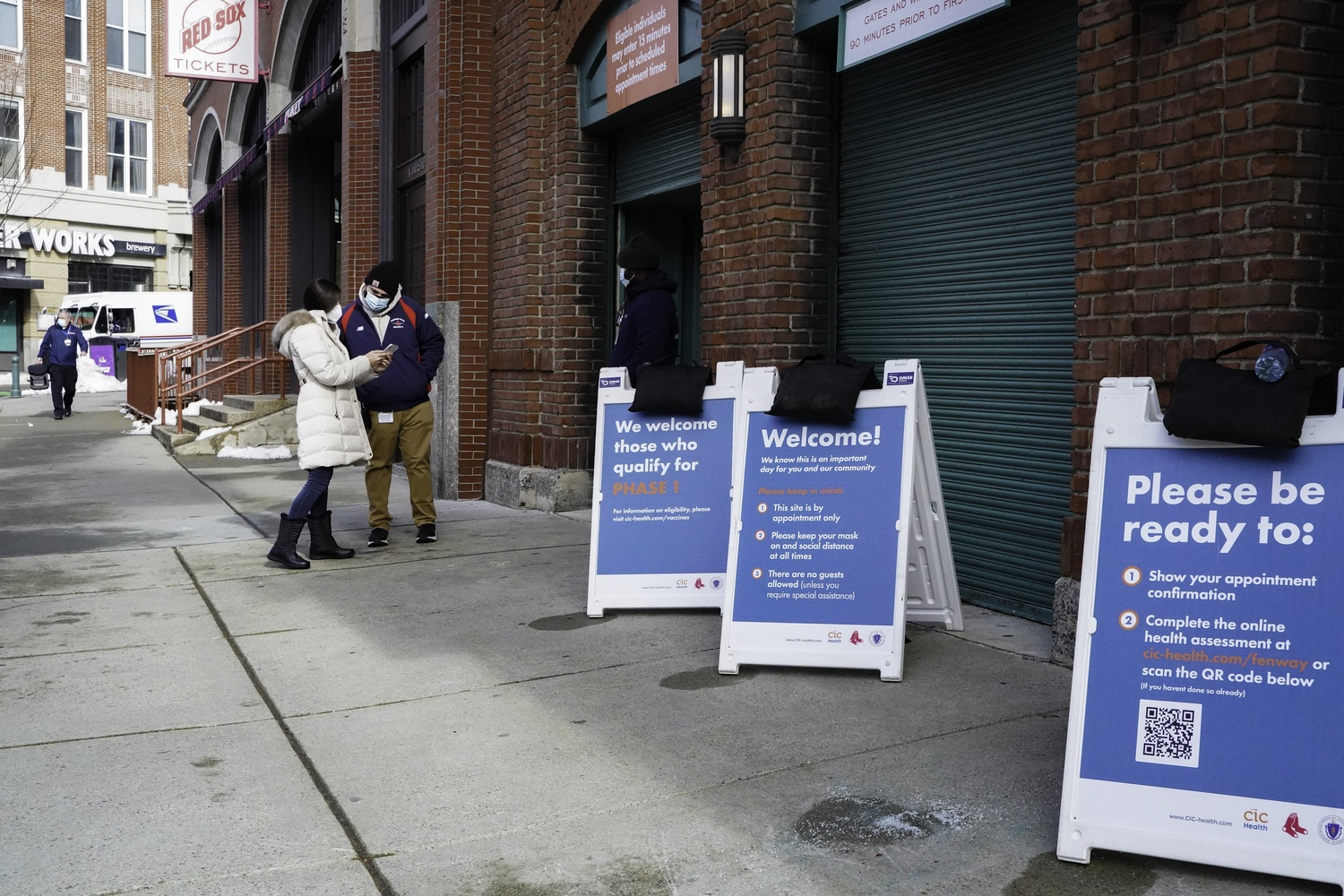 The City of Cambridge does not have its own public vaccination site, but the state's second largest vaccination site opened Feb. 1 just across the Charles River at Fenway Park in Boston.