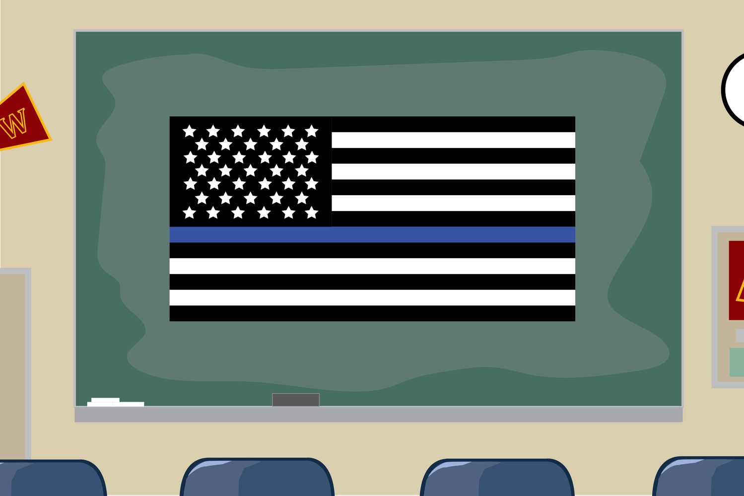 An illustration of the highly-contested Blue Lives Matter flag.