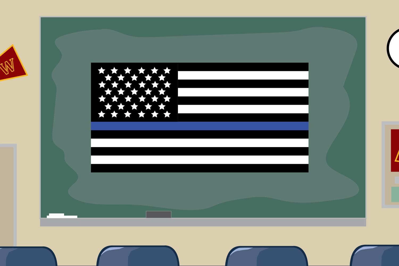 A Blue Lives Matter hangs in a classroom in Weymouth, Mass.