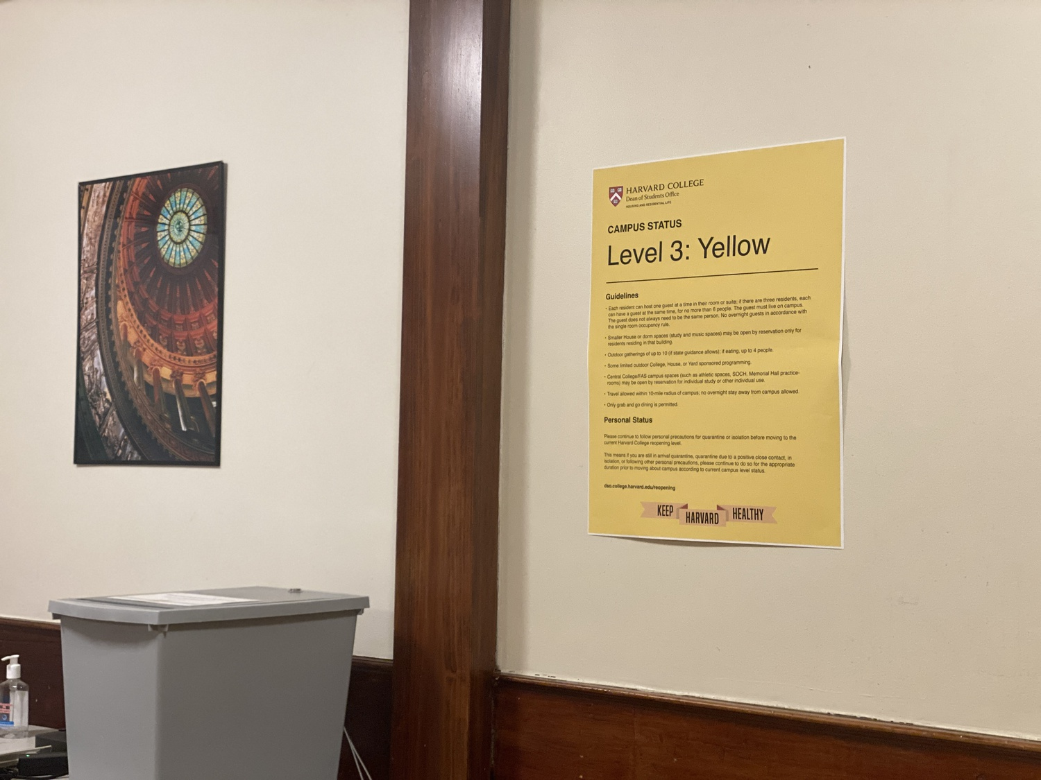 Harvard's campus reopening status entered Phase Yellow on Monday, the third tier of its reopening plan.