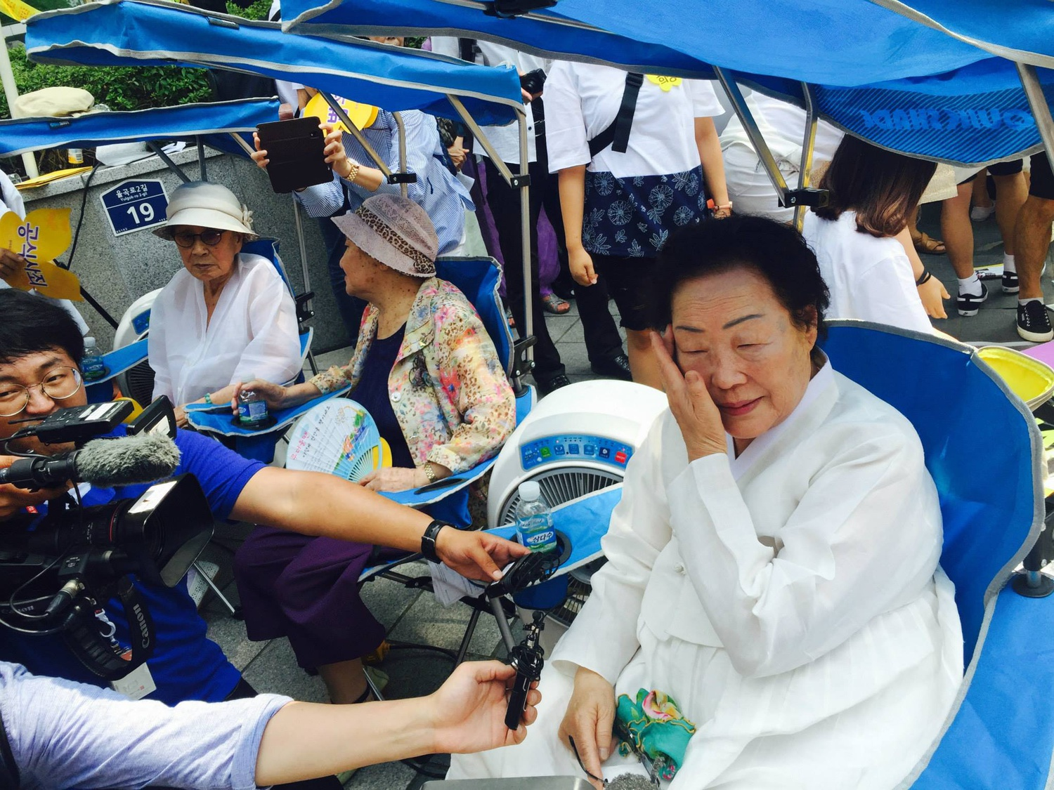 Lee Yong-soo, a former comfort woman and activist, seen at a protest in Seoul. Lee will speak at a webinar organized by the Harvard Asian Pacific American Law Students Association on Tuesday.