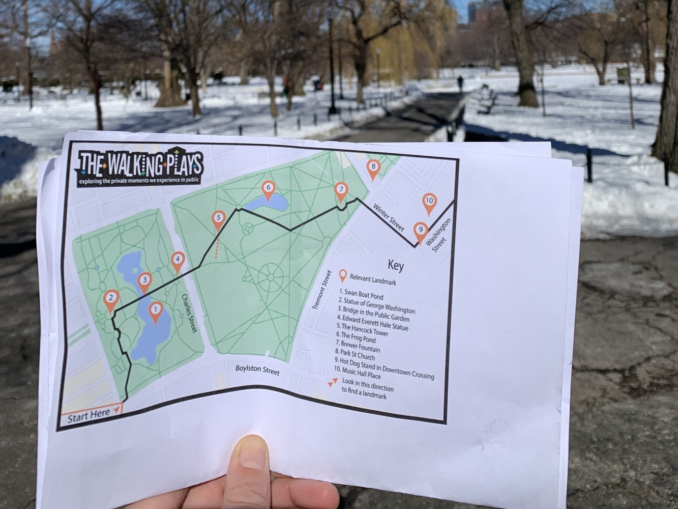 The Walking Play outlines a specific path to take through Boston Common which corresponds to key events in the accompanying audio.