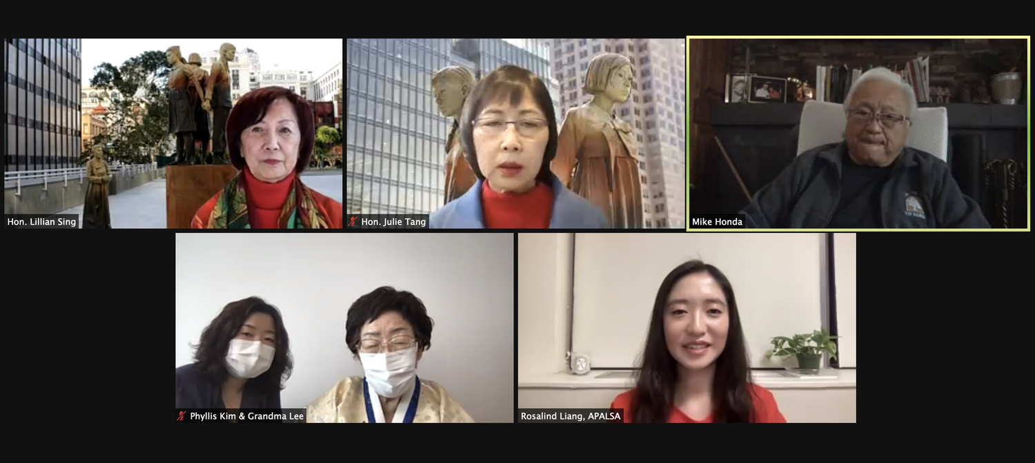 Lee Yong-soo, second from bottom left, a surviving comfort woman and activist, spoke alongside several advocates for comfort women at a webinar organized by the Harvard Asian Pacific American Law Students Association on Tuesday.