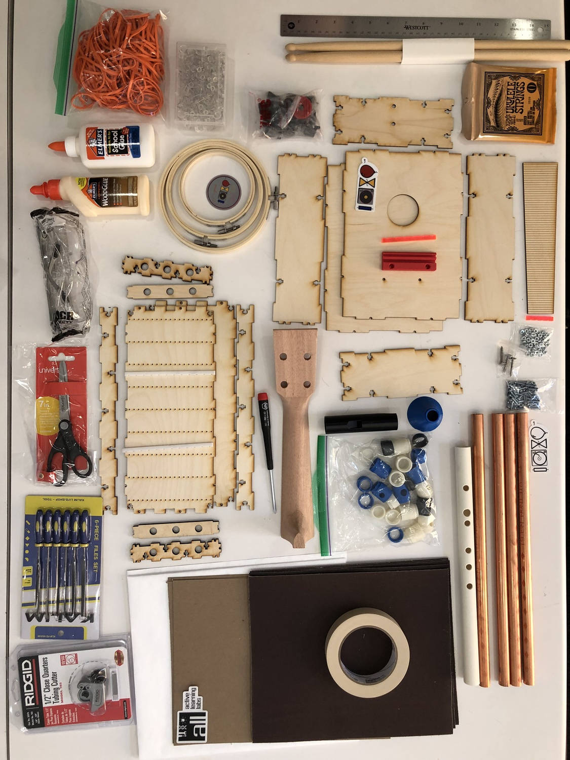 The lab kit sent to students in General Education 1080: How Music Works: Engineering the Acoustical World to allow them to complete projects at home during the remote semester.