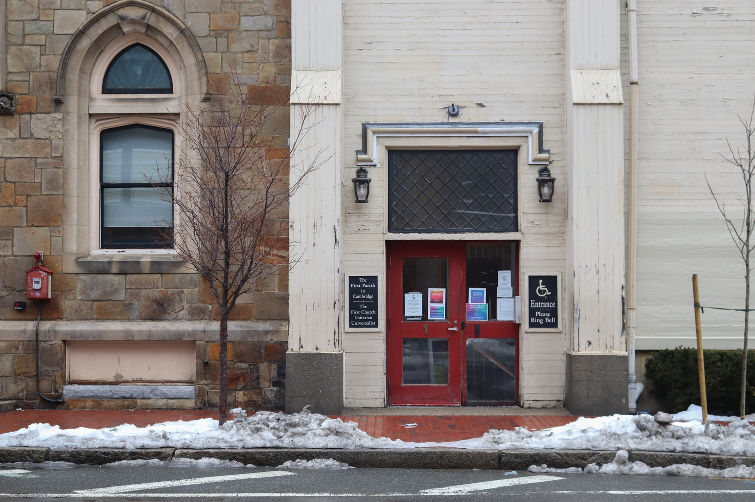 The Y2Y shelter — pictured in February — operates out of the First Parish Unitarian Universalist Church in Harvard Square.