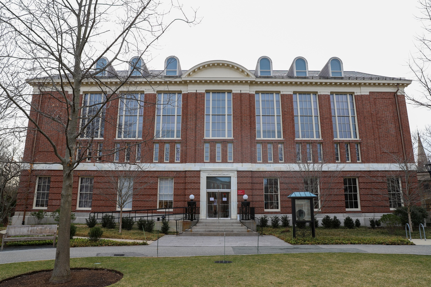 Harvard's Schlesinger Library, located in Radcliffe Yard, was set to receive historical materials from Philip Ahn Cuddy until he pulled his donation in protest.