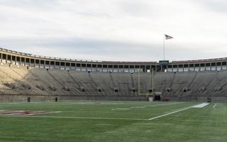 Empty Harvard Stadium Field