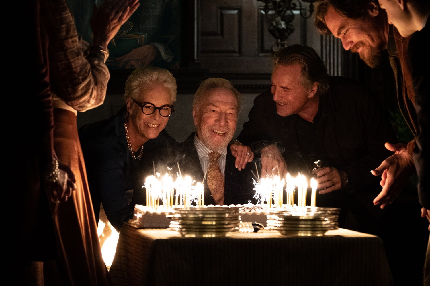 """Christopher Plummer (center) starred as Harlam Thrombey in """"Knives Out"""" (2019), directed by Rian Johnson."""